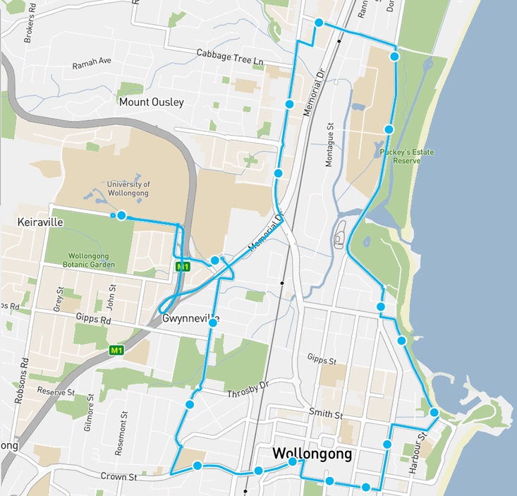 Wollongong Shuttle Map